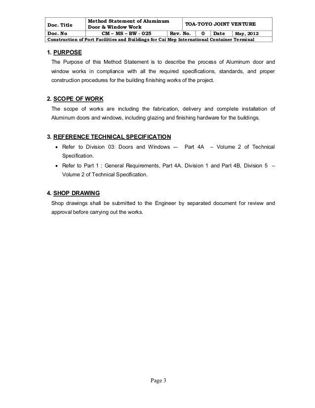 Doc585619 Method Statement Template Doc Sample Method – Method of Statement Sample