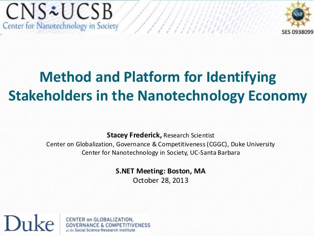 Method and Platform for Identifying Stakeholders in the Nanotechnology Economy Stacey Frederick, Research Scientist Center...