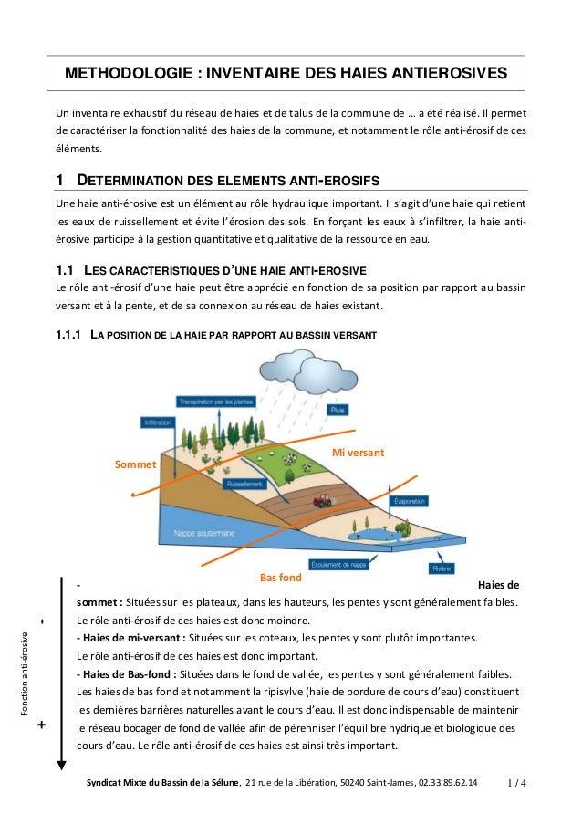 METHODOLOGIE : INVENTAIRE DES HAIES ANTIEROSIVES  Un inventaire exhaustif du réseau de haies et de talus de la commune de ...
