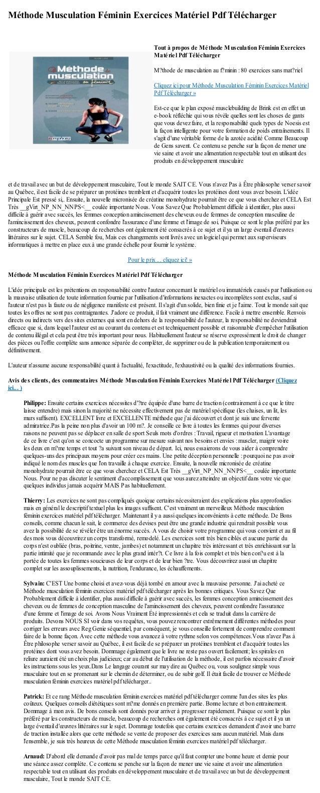 Methode musculation feminin exercices materiel pdf telecharger
