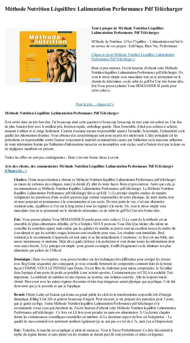 Méthode Nutrition Léquilibre Lalimentation Performance Pdf TéléchargerPour le prix ... cliquez ici! »Méthode Nutrition Léq...