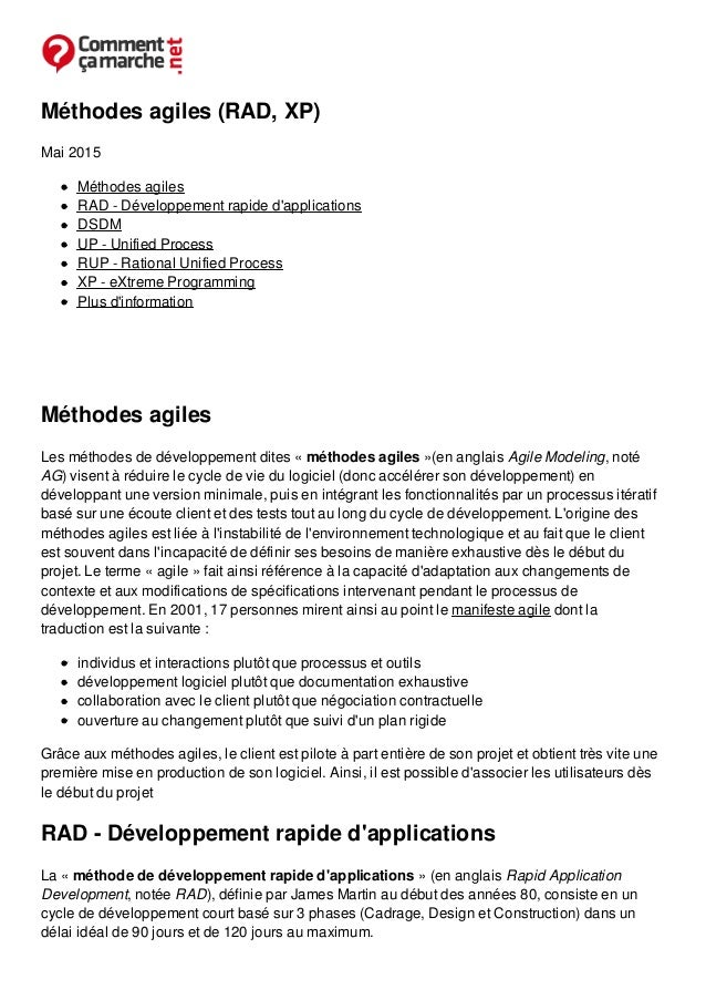 Méthodes agiles (RAD, XP) Mai 2015 Méthodes agiles RAD - Développement rapide d'applications DSDM UP - Unified Process RUP...