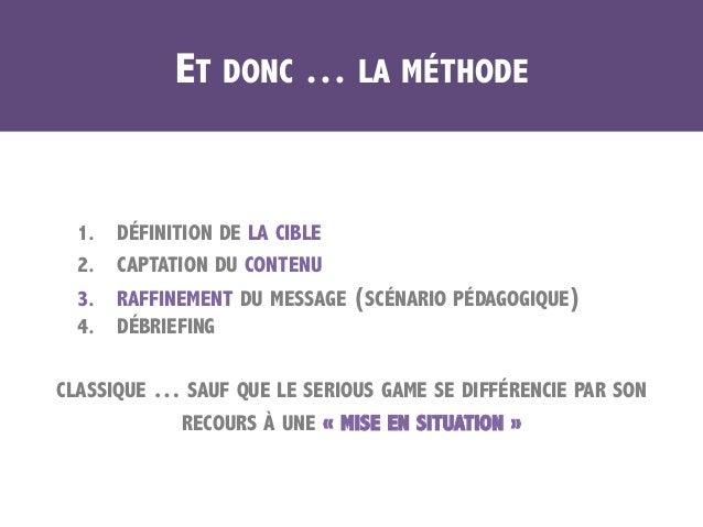 ET DONC … LA MÉTHODE 1. DÉFINITION DE LA CIBLE 2. CAPTATION DU CONTENU 3. RAFFINEMENT DU MESSAGE (SCÉNARIO PÉDAGOGIQUE)...