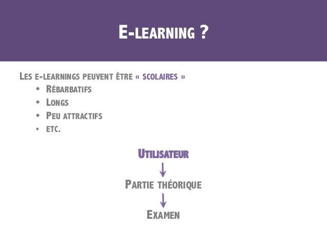 E-LEARNING ? LES E-LEARNINGS PEUVENT ÊTRE «SCOLAIRES» • RÉBARBATIFS • LONGS • PEU ATTRACTIFS • ETC. UTILISATEUR PART...