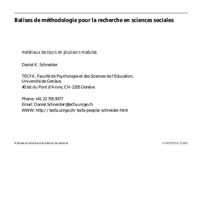 Balises de méthodologie pour la recherche en sciences sociales      matériaux de cours en plusieurs modules      Daniel K....