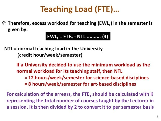 Method of excess workload computation for nigerian