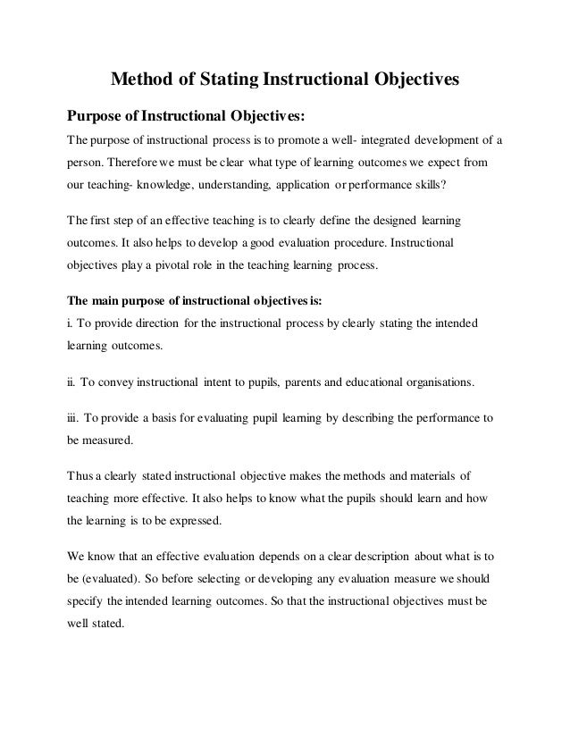 Method Of Stating Instructional Objectives