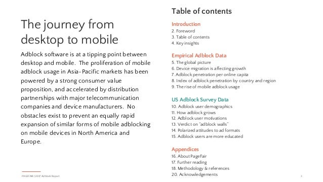 Introduction 2. Foreword 3. Table of contents 4. Key insights Empirical Adblock Data 5. The global picture 6. Device migra...