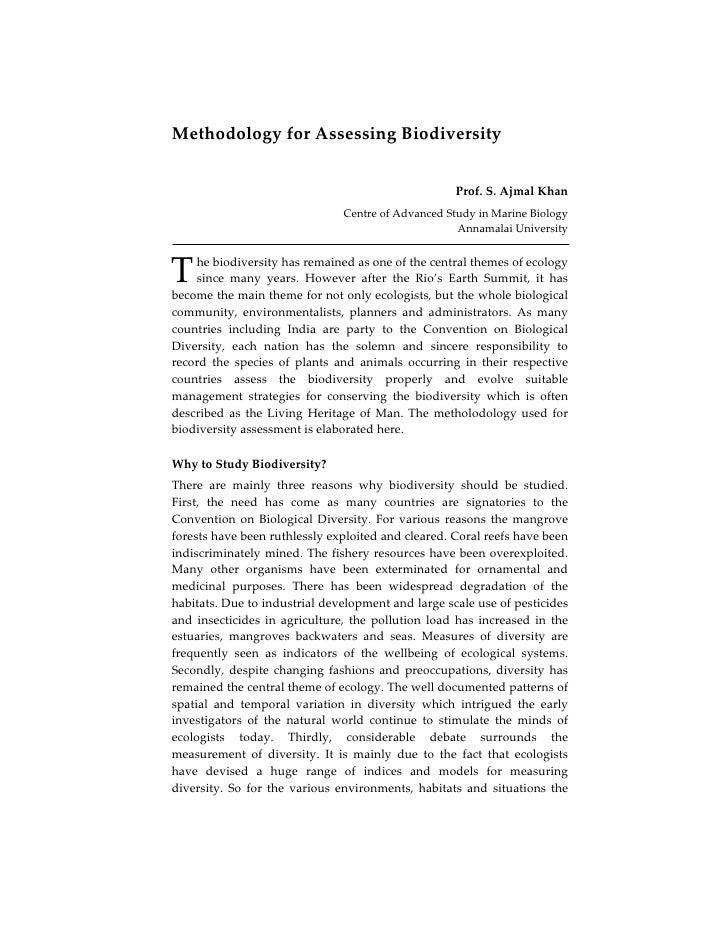 MethodologyforAssessingBiodiversity                                                           Prof.S.AjmalKhan    ...