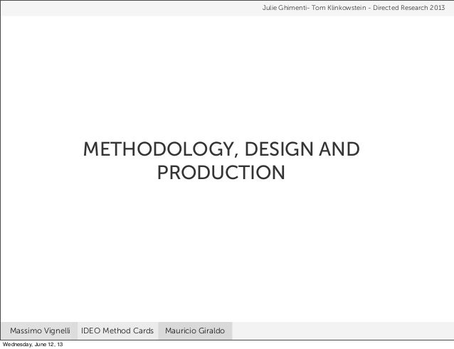 METHODOLOGY, DESIGN ANDPRODUCTIONJulie Ghimenti- Tom Klinkowstein - Directed Research 2013Massimo Vignelli IDEO Method Car...
