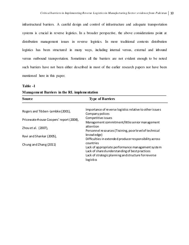 term paper on reverse logistics Online sample term paper on logistics management topics and research ideas free logistics management term paper example tips how to write good logistics essays and papers.