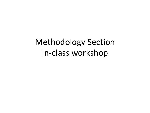 Methodology Section In-class workshop