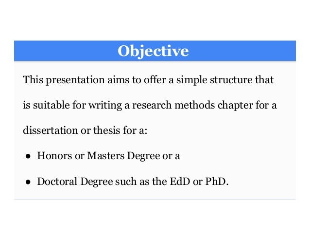masters dissertation aims and objectives