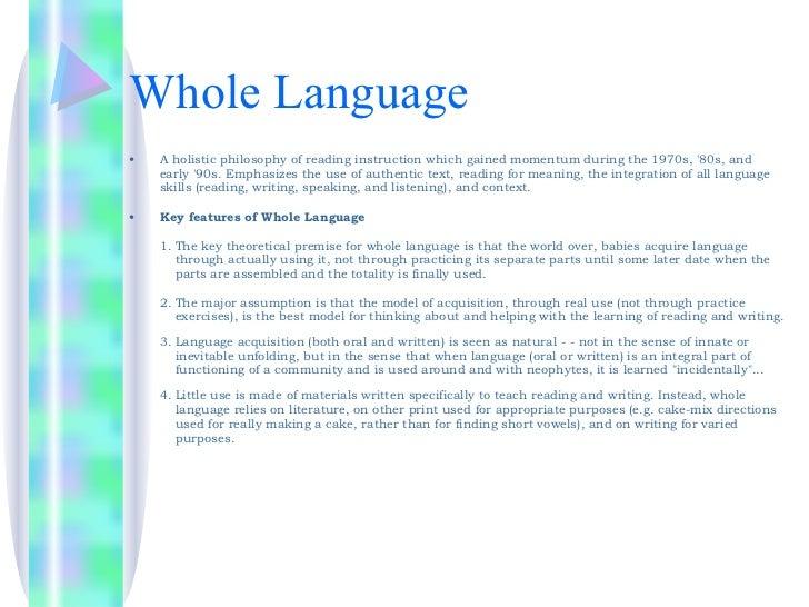 Whole Language Instruction vs. Phonics Instruction - ERIC