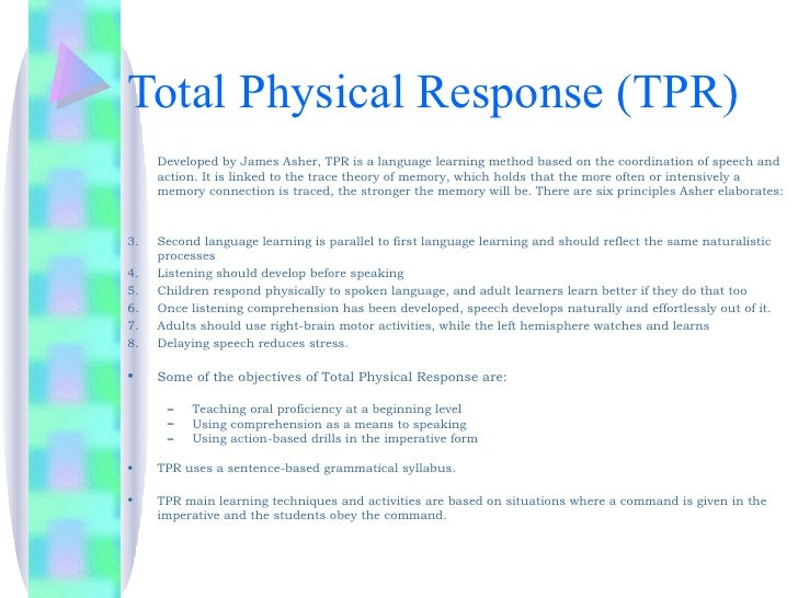 The total physical response approach to second language learning
