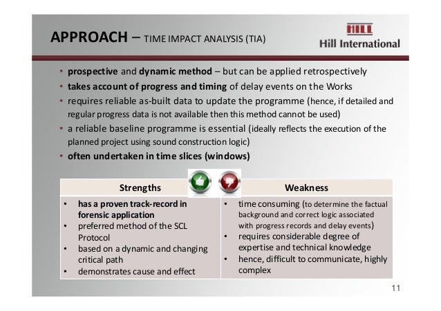 APPROACH– TIMEIMPACTANALYSIS(TIA) 11 • prospective anddynamicmethod– butcanbeappliedretrospectively • takesacc...