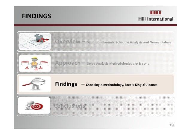 FINDINGS Overview– DefinitionForensicScheduleAnalysisandNomenclature Approach– DelayAnalysisMethodologiespro&c...