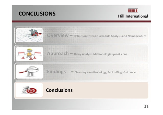 CONCLUSIONS Overview– DefinitionForensicScheduleAnalysisandNomenclature Approach– DelayAnalysisMethodologiespro...