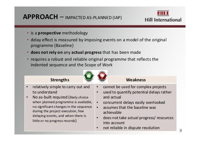 APPROACH– IMPACTEDAS‐PLANNED(IAP) 9 • isaprospective methodology • delayeffectismeasuredbyimposingeventsona...
