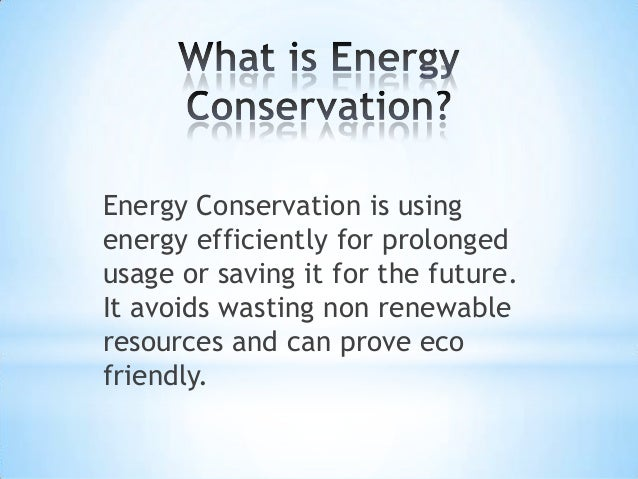 Methods Of Energy Conservation