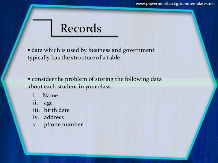 methods of organizing data