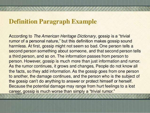 personal essay definition A definition essay can be deceivingly difficult to write this type of paper requires you to write a personal yet academic definition of one specific word the definition must be thorough and lengthy it is essential that you choose a word that will give you plenty to write about, and there are a few standard tactics you can use to.