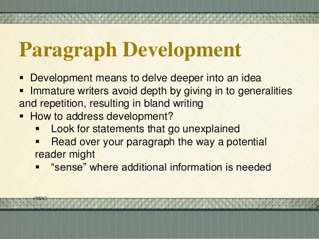 methods of paragraph writing