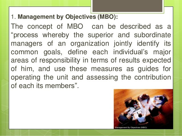 """1. Management by Objectives (MBO): The concept of MBO can be described as a """"process whereby the superior and subordinate ..."""