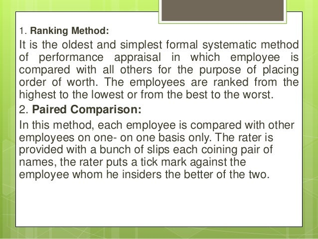 1. Ranking Method: It is the oldest and simplest formal systematic method of performance appraisal in which employee is co...