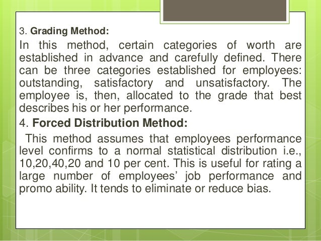 3. Grading Method: In this method, certain categories of worth are established in advance and carefully defined. There can...