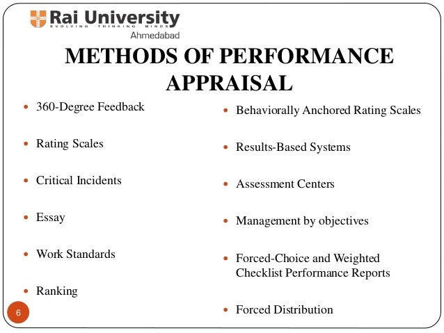 Advantages of essay appraisal method