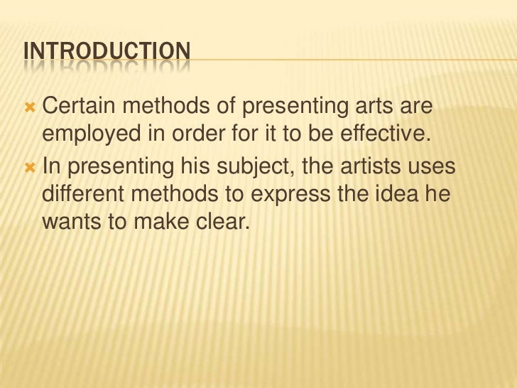 Accounting methods of presenting art subjects humanities