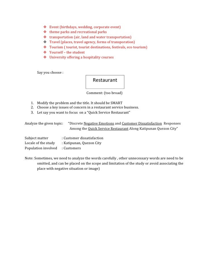 feasibility study on small restaurant pdf