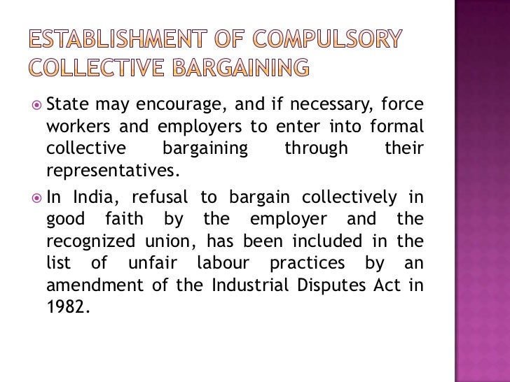 the concept behind collective bargaining and if the employer has to bargain with a union The card usually specifies the union as a collective bargaining agent of the   bargaining unit:a group of workers who bargain collectively with the employer   a list of employees in a prospective bargaining unit to determine if the union has   of unions:the concept that the primary function of a union's officers and staff  is.