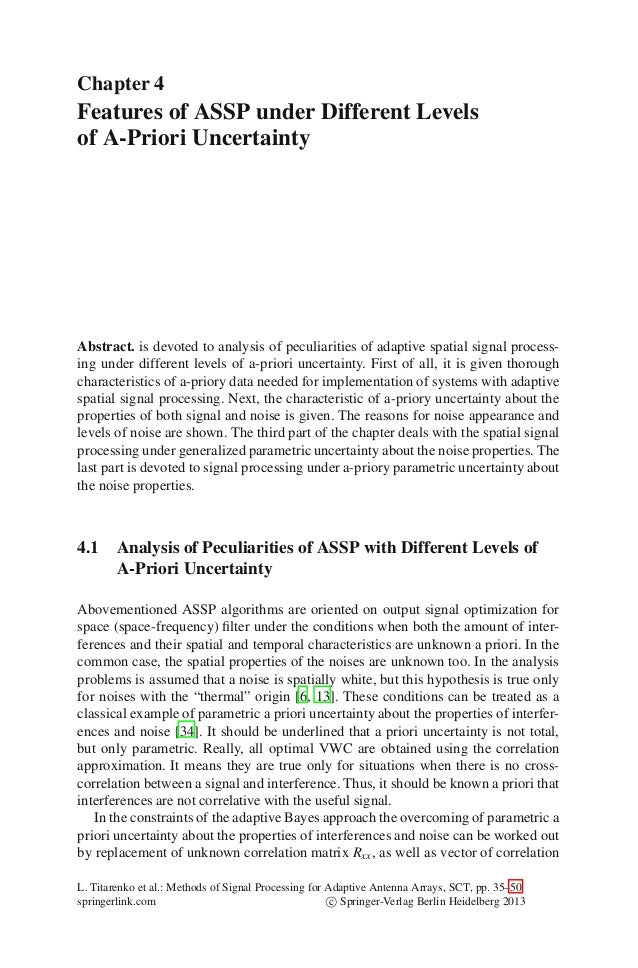 Chapter 4Features of ASSP under Different Levelsof A-Priori UncertaintyAbstract. is devoted to analysis of peculiarities o...