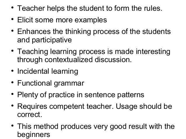 Thedisadvantagesofaninductiveapproachinclude: • The time and energy spent in working out rules may mislead students ...