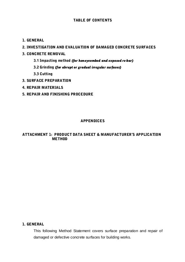 Method statement for repair of concrete surface