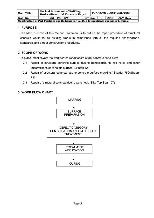 Method statement for structural concrete repair rev0 – Method Statement Template Doc