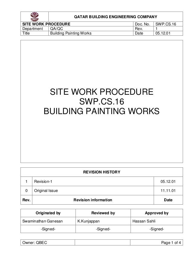 Method Statement Painting. QATAR BUILDING ENGINEERING COMPANY SITE WORK  PROCEDURE Doc. No. SWP.  Method Of Statement