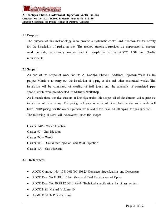 Method statement piping works – Method Statement Template Doc