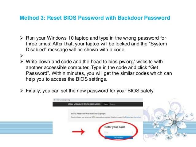 windows 10 disable bios password