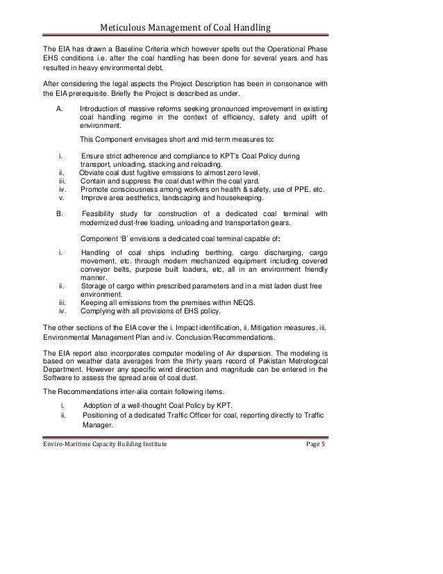 EIA - Meticulous management of coal Handling at Karachi Port Trust