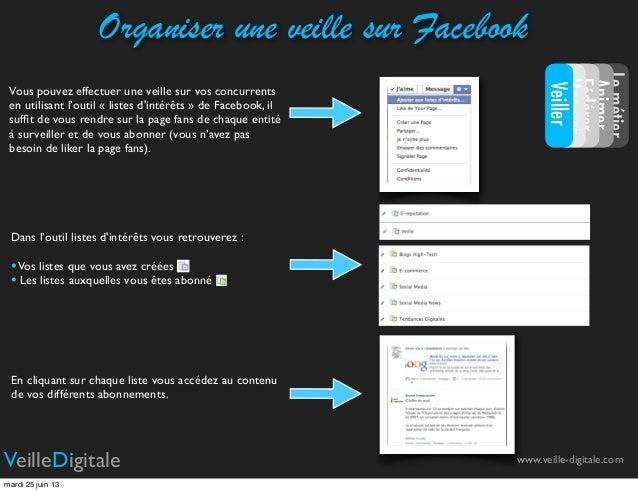 Vous pouvez effectuer une veille sur vos concurrentsen utilisant l'outil « listes dintérêts » de Facebook, ilsuffit de vous...