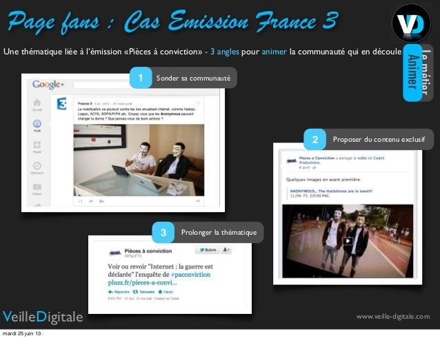 Page fans : Cas Emission France 3www.veille-digitale.comVeilleDigitaleUne thématique liée à l'émission «Pièces à convictio...
