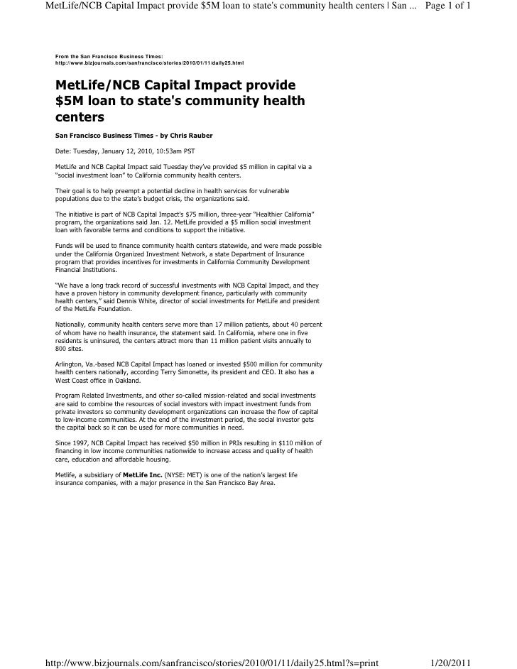 MetLife/NCB Capital Impact provide $5M loan to states community health centers | San ... Page 1 of 1  From the San Francis...