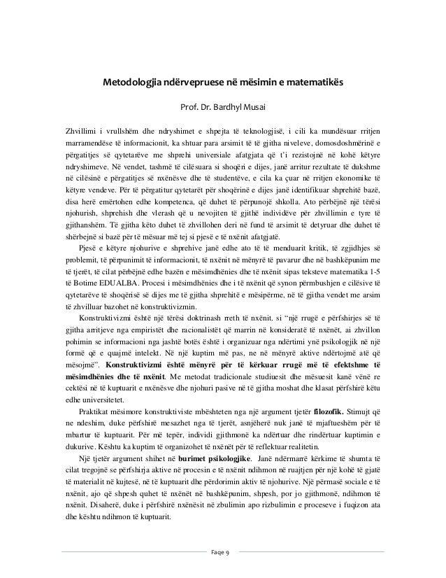 Faqe9    Metodologjiandërvepruesenëmësiminematematikës  Prof.Dr.BardhylMusai Zhvillimi i vrullshëm dhe ndr...