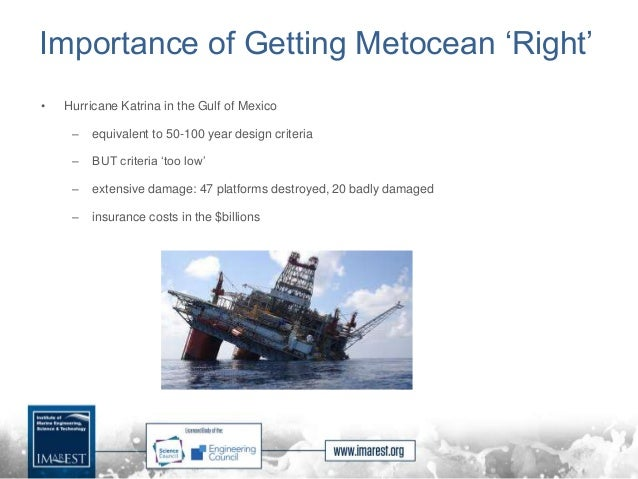 Importance of Getting Metocean 'Right' • Hurricane Katrina in the Gulf of Mexico – equivalent to 50-100 year design criter...