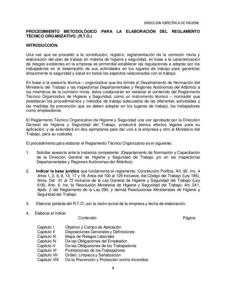 DIRECCION ESPECÍFICA DE HIGIENEPROCEDIMIENTO METODOLÓGICO PARA LA ELABORACIÓN DEL REGLAMENTOTÉCNICO ORGANIZATIVO. (R.T.O.)...