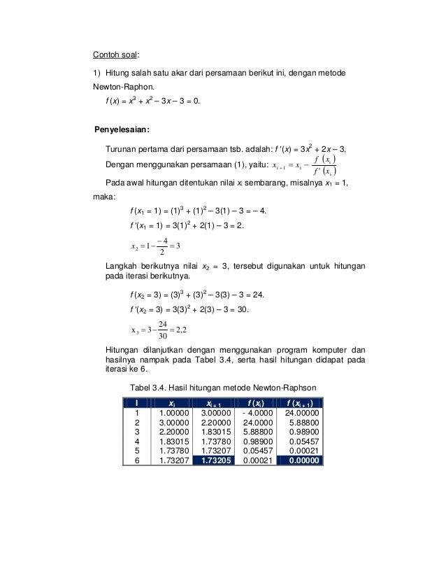 Contoh Soal Dan Jawaban Metode Bagi Dua Metode Numerik