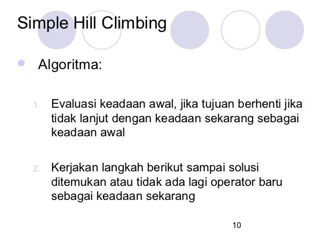 Simple Hill Climbing    Algoritma:    1.   Evaluasi keadaan awal, jika tujuan berhenti jika         tidak lanjut dengan k...